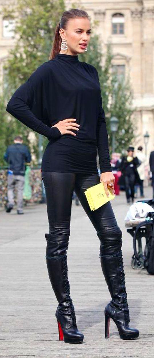 Goddesstasha Irina Shayk Leather Pants And Otk Louboutin