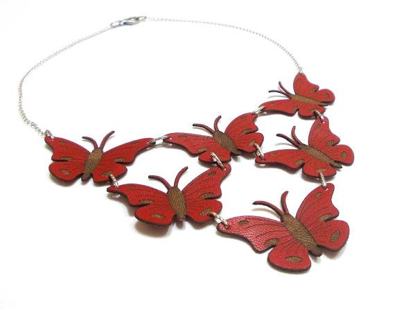 Butterfly Necklace (5 color options), Natural Jewelry, Butterfly jewelry, Summer gifts, Boho, SPRING SALE, Red Butterfly, Hippie jewelry