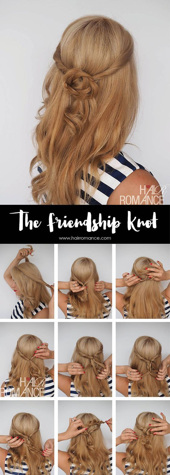 The friendship knot; Get the scoop on these wedding hairstyle tutorial looks from Hair Romance's amazing blog. hairromance.com