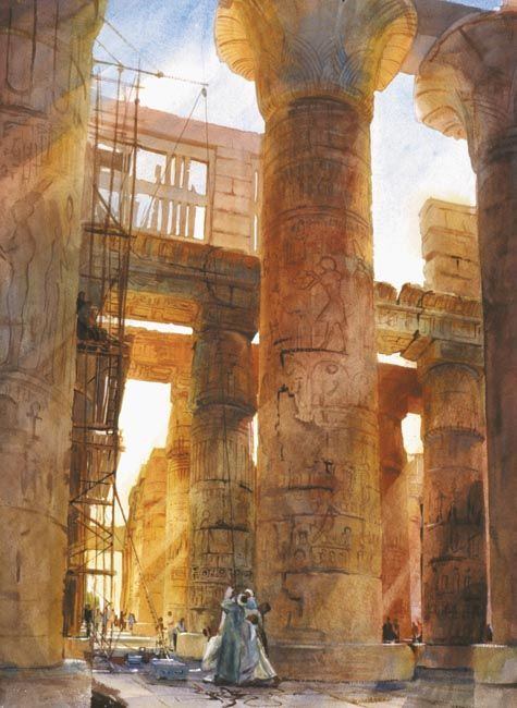 Hypostyle of the Great Temple of Amon Ra at Karnak \\ Alexander Creswell. Watercolor