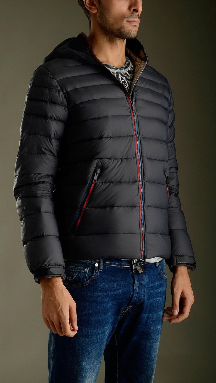 Black quilted ultra light down jacket featuring zip fastening with double puller, long sleeves, two zippered seam pockets, inner pockets, elasticized waistband, Velcro cuff closure, no detachable hood, removable polycarbonate lenses in silicone frame, mesh grate detailing ears and mouth, removable pompom, regular fit, 100% polyamide, padding: 100% goose down feather.