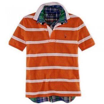 striscia polo ralph lauren uomo pony in arancione:Cotone camicia a righe POLO casuale, Arancione incarna pienamente la vitalità