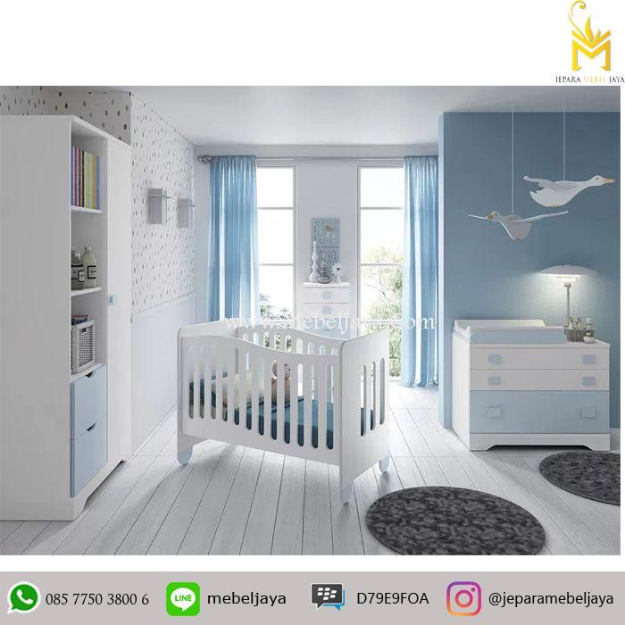 Tempat tidur bayi desain minimalis dan ekonomis dengan bebrapa laci dan lemari untuk menyimpan keperluan baby Anda - Set Tempat Tidur Bayi Murah Modern