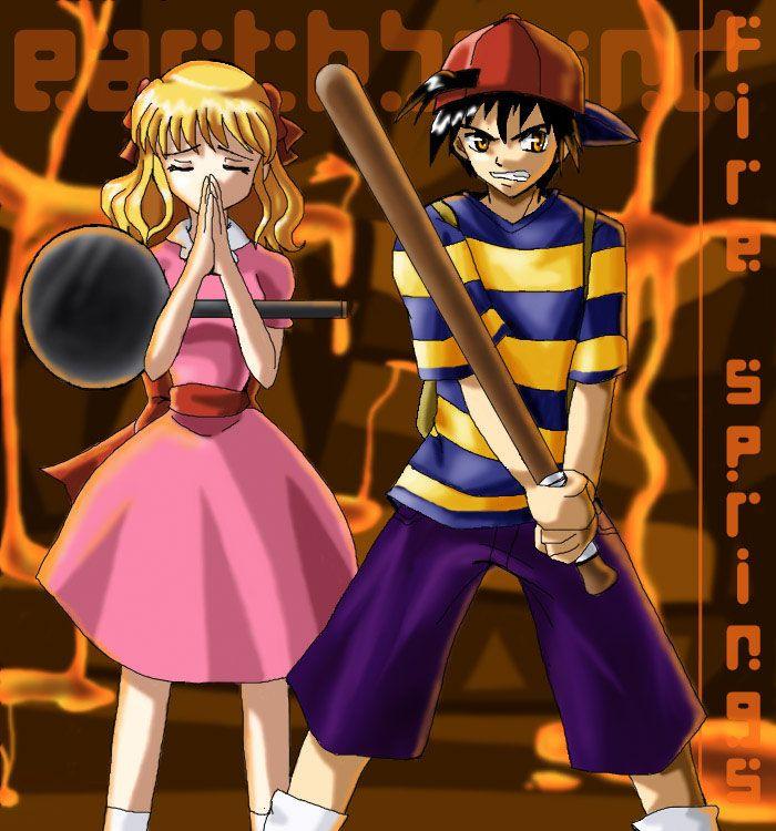 Anime Rendition Of Ness And Paula