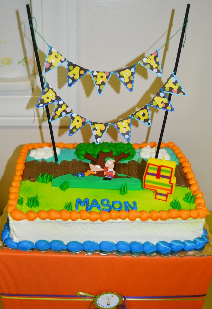 Phineas and Ferb Cake. Ordered cake from Publix. I made the banner