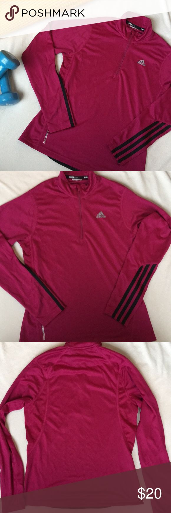 "Adidas Response Climacool Pull Over Adidas Response Formotion Climacool Half Zip Pull Over. Raspberry and Black. Size XS. Tags Removed. Flat lay measurements, armpit to armpit 17"". Shoulder to hem 22"". All measurements are approximate. A could small snags on lower arms. Pictures listed. adidas Tops"