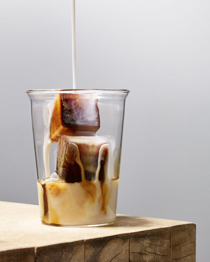 coffee ice cubes and milk