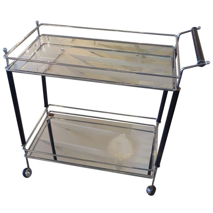 Chrome, Mirror and Ebonized Wood Midcentury Bar Cart | From a unique collection of antique and modern bar carts at http://www.1stdibs.com/furniture/tables/bar-carts/