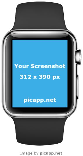 Place your new iOS app screenshot in this cool, black Apple Watch in portrait position with just one click. How? With Picapp.net, an online tool which let you to put your screenshot in what device frame you like. The best part of Picapp: FREE DOWNLOAD. #apple #nobackground #mockup #AppleWatch #smartwatch #picapp #template #ios