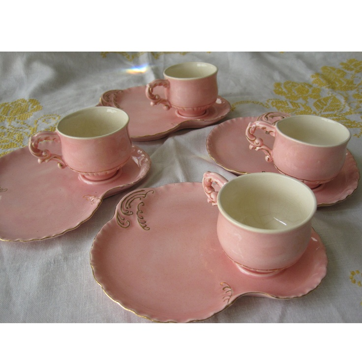 1950s Dishes: Delicate 1950s Pink And Gold Tea Party HOLLAND MOLD