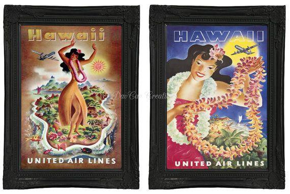 Vintage Style Hawaii Travel Poster Prints