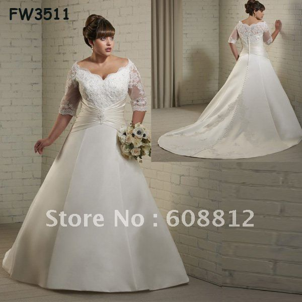 Бесплатная доставка на заказ FW3511 новый элегантный атласная этаж длина Большой размер свадебные платья с рукавами