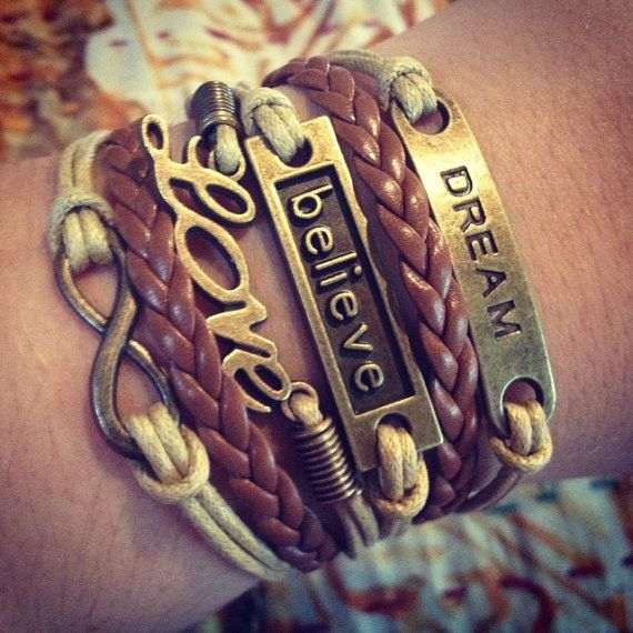 One of my personal favorites! NEW Light Tan and Brown Believe Dream Love by ForTheWristAndSoul, $12.99 #believe #dream #love #bracelet #cute #infinity