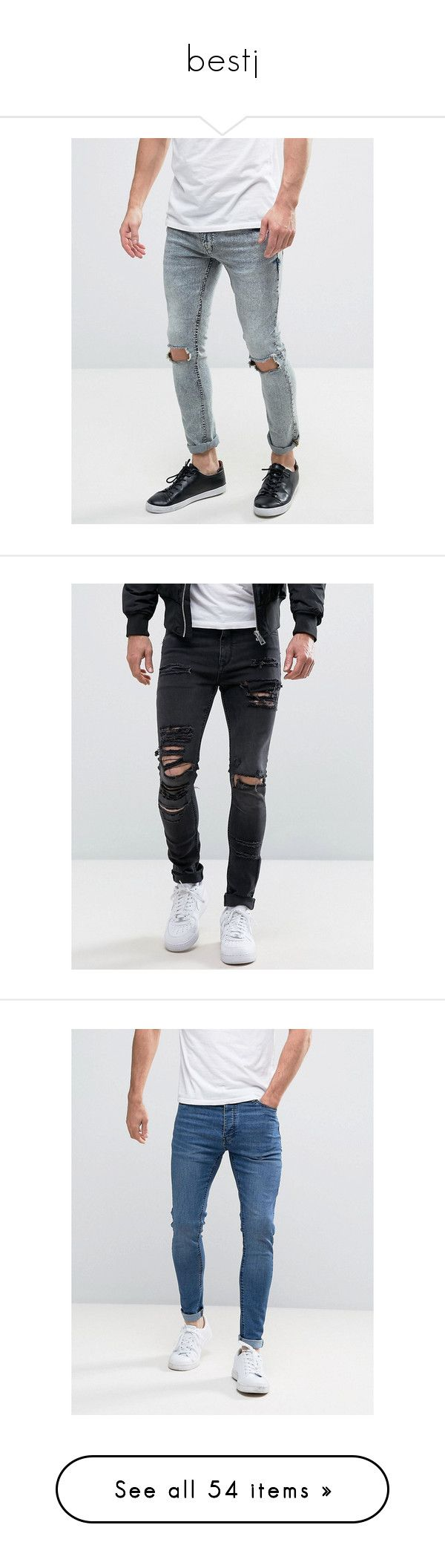 """""""bestj"""" by mamtadubey ❤ liked on Polyvore featuring men's fashion, men's clothing, men's jeans, blue, mens flap pocket jeans, mens distressed skinny jeans, mens acid wash jeans, tall mens jeans, mens acid wash skinny jeans and black"""