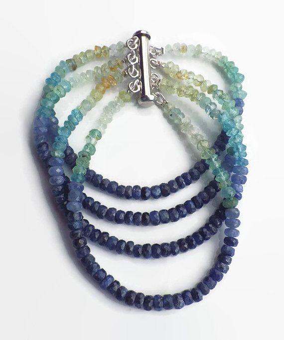 Sapphire Aquamarine ombre bracelet4 strands by LisaCreazioni