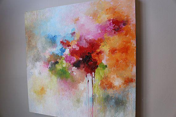 roja naranja pintura abstracta modean acrílico por artbyoak1