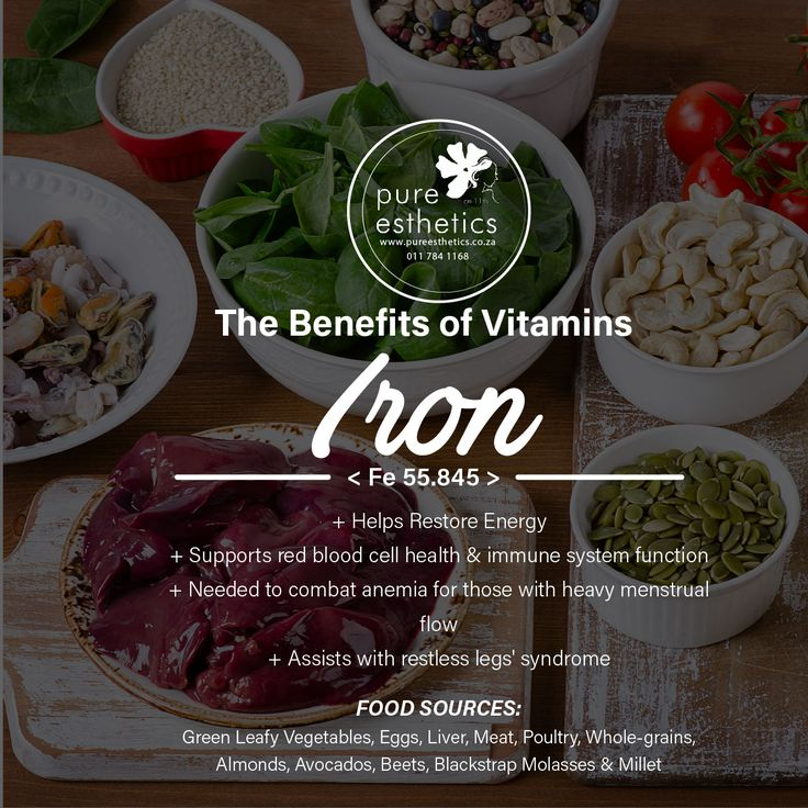 The Benefits of Minerals IRON < Fe 55.845 > + Helps Restore Energy + Supports red blood cell health & immune system function + Needed to combat anemia for those with heavy menstrual flow + Assists with restless legs' syndrome FOOD SOURCES: Green Leafy Vegetables, Eggs, Liver, Meat, Poultry, Whole-grains, Almonds, Avocados, Beets, Blackstrap Molasses & Millet For more information or a booking please contact us at +2711 784 1168