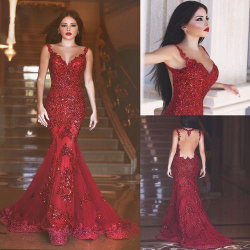 2016-Sereia-Longo-Vermelho-Vestidos-de-Formatura-Com-Ilusao-De-Volta-Vestidos-De-Festa-Noite-Formal