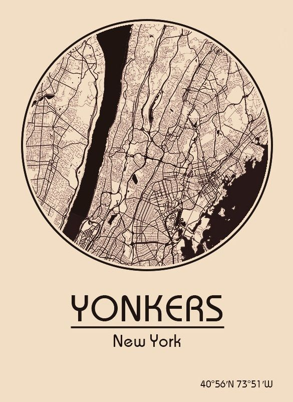 Karte / Map ~ Yonkers, New York - Vereinigte Staaten von Amerika / United States of America / USA