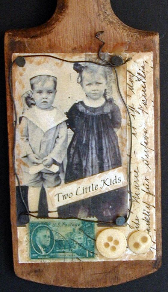 Mixed media Art Vintage Wood Butter Paddle by SweetPeaVintageArt, $25.00