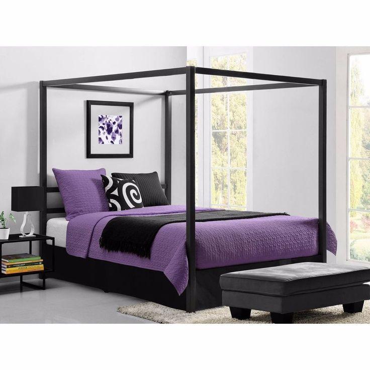 Queen Sized Canopy Bed Headboard Platform Metal Slats Bedroom Decor Gray Finish