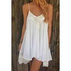 Sweet Spaghetti Strap Lace Spliced Backless White Dress For Women