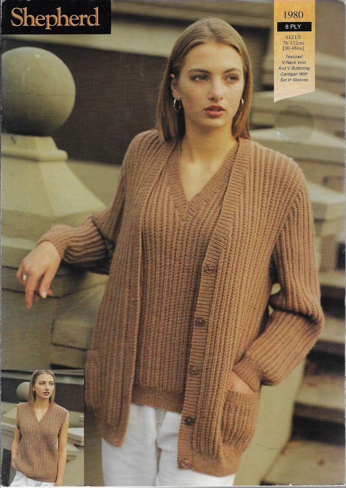 97738f748 Women s Cardigan   Top Shepherd 1980 knitting pattern 8 ply yarn  Shepherd