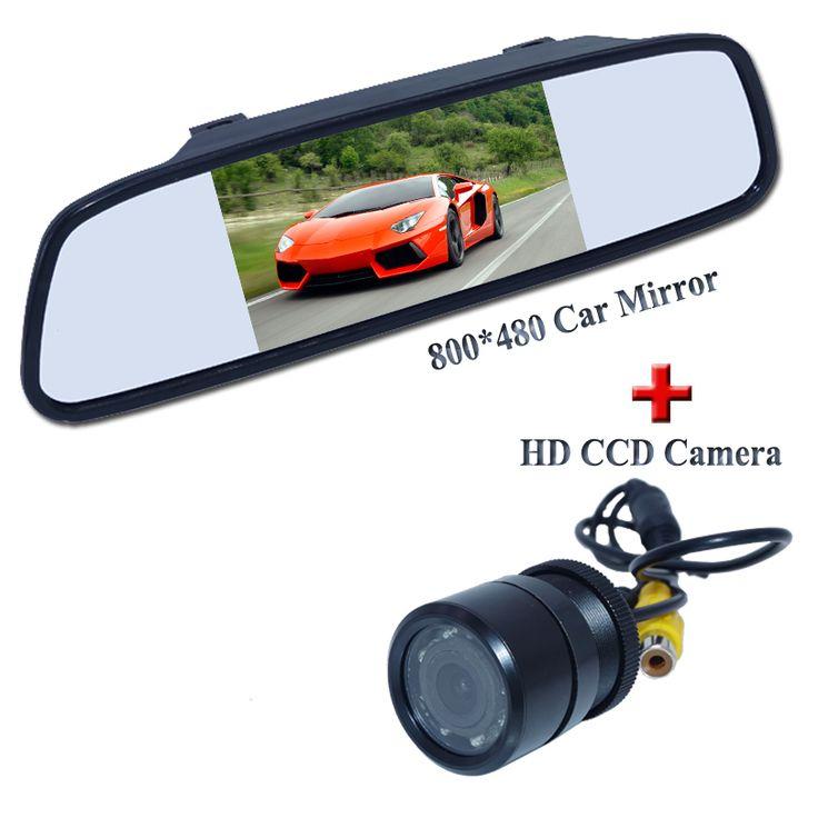 "Promotion 2 in 1 HD CCD rear view camera + 5"" 800*480 Car Mirror Monitor, Car reverse cameras parking camera monitor Free Ship"