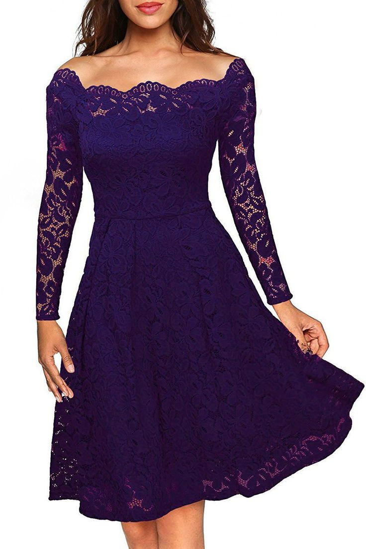 Robe Patineuse de Cocktail Violet Dentelle Manches Longues Col Bateau Pas Cher www.modebuy.com @Modebuy #Modebuy #Violet #sexy #vente #gros