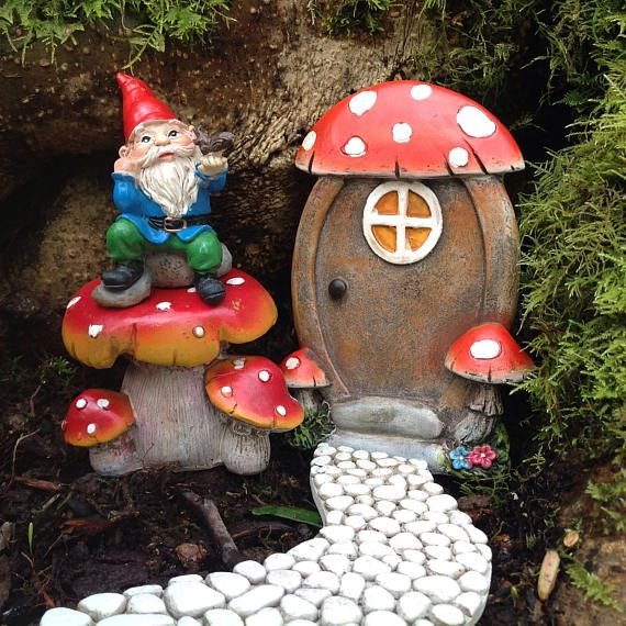 Miniature fairy garden door for fairy house with mushrooms
