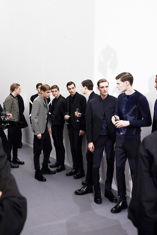 The line up: Jil Sander Adrien's there in the middle holding a glass! I'm gonna faint.