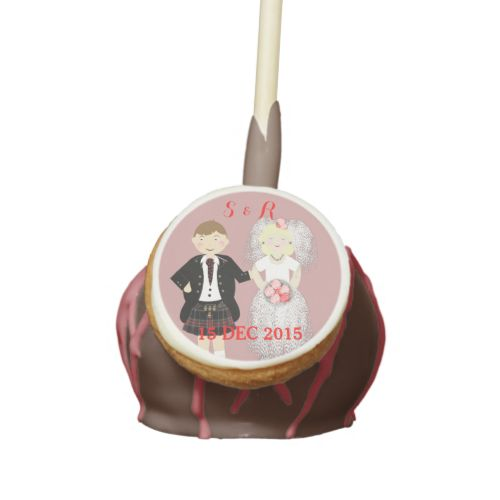Your wedding guests will be so impressed with these specially personalized cake pops with such a cute Scottish Mr and Mrs as bride and kilted groom. Shown here in pinky/red and white with milk chocolate but feel free to customize the flavors, colors etc to your own liking. Great idea for a wedding in Scotland or for a Scottish couple.