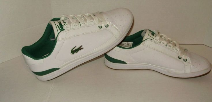 Lacoste Mens Sneakers Shoes Size 10.5 White Leather Green Trim Alligator A30 #Lacoste #sneakers