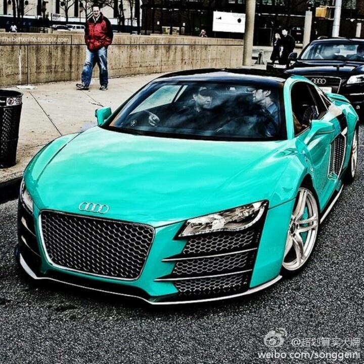 Turquoise Audi R8.