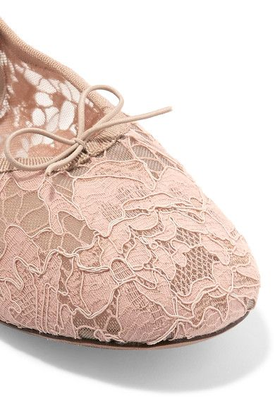 Valentino - Studded Corded Lace Ballet Flats - Blush - IT