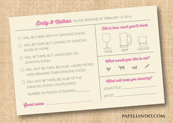 Funny vintage wedding Mad Libs reply RSVP card by PapelLindo