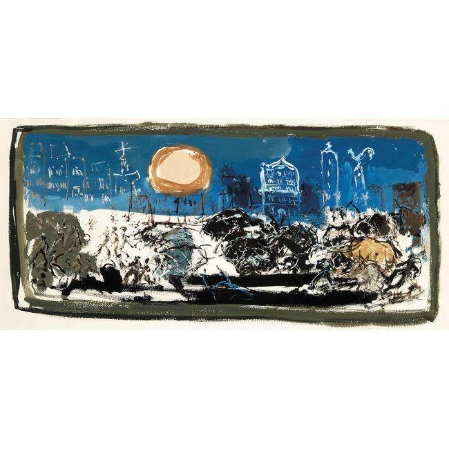 """PAUL RAMBIE  AUTOR: PAUL RAMBIE    REFERENCIA:  4186-3  """"Encierro de Pamplona"""".    Técnica mixta / papel.    Sin firmar. 1961.    Medidas: 38 x 70 cm.    Este artista, tras ganar el Certamen Pamplona - Bayona (1960), fue invitado a realizar una serie sobre el Encierro. Realizó seis trabajos, uno en la Fundación CajaNavarra (reproducido en folleto que adjuntamos), otro en Ayuntamiento de Pamplona y el resto en colección particular."""