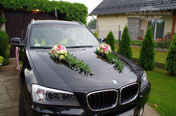 Dekoracja samochodu różowe róże i eustoma Opole