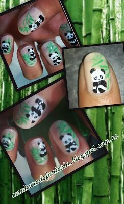 Manicura de Osos Panda y Bambú!