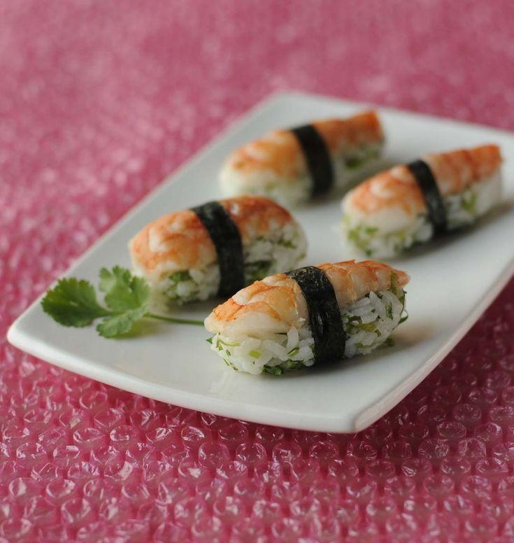 Sushis crevettes coriandre - les meilleures recettes de cuisine d'Ôdélices