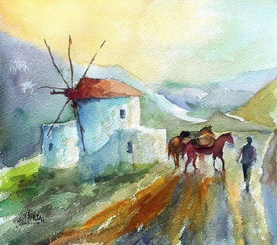 Old mills horses and miller -  Watercolor by Faruk Koksal