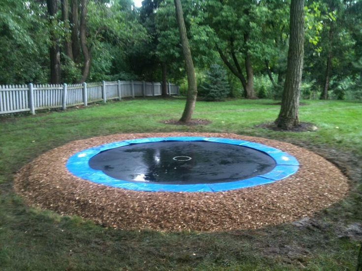 99 best in ground trampolines images on pinterest for How to put a trampoline in the ground