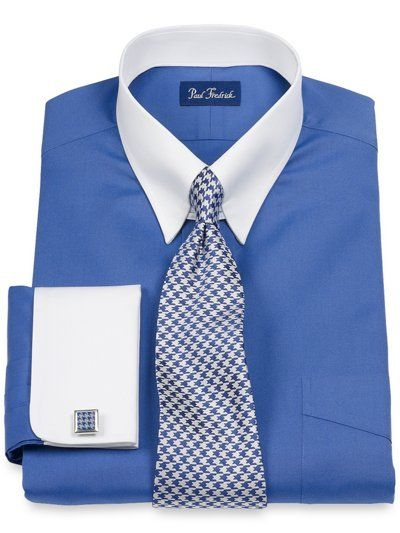 2-Ply Cotton Pinpoint Solid Tab Collar French Cuff Dress Shirt from Paul Fredrick