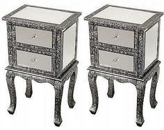 2 black/silver embossed #mirrored bedside #cabinets lamp #table cabinet bedroom ,  View more on the LINK: 	http://www.zeppy.io/product/gb/2/222370298390/