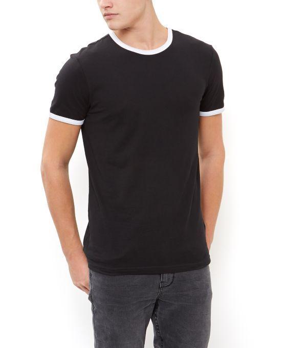Black Contrast Trim Crew Neck T-Shirt    New Look