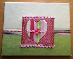 Fabric Art Canvas Pink/Lime Green