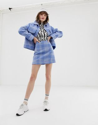 91fecb5533 Image 1 of Monki mini boucle A-line skirt with check print in light blue