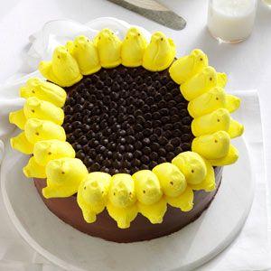 Peeps Sunflower Cake Recipe from Taste of Home -- shared by Bethany Eledge of Cleveland, Tennessee