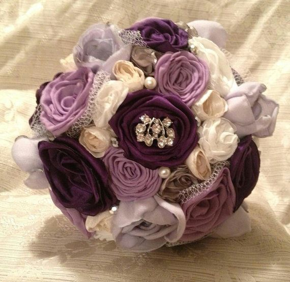 Fabric wedding bouquet handmade in purple by RosesArentRedRAR, $100.00