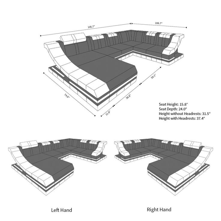 Fabric Design Sofa New York XL with LED